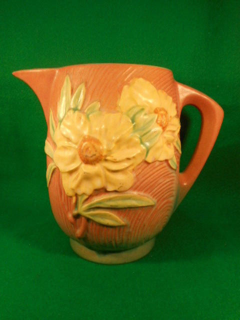 Vintage Roseville Peony Pink and Yellow Beverage Water Pitcher 1326-7 1/2""