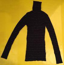 GAP STRETCH Womens Stretch Black SparkLY Striped Turtleneck Blouse Top size xs - $14.99