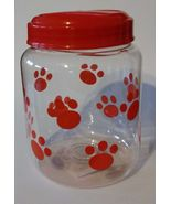 PET FOOD JAR Dog Treat Container Red Paw Prints Plastic NEW - $8.99