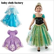 Kids Girls Clothes Elsa Frozen-dress costume Princess Anna party Sophia ... - $19.18