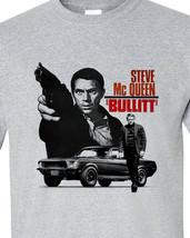 Bullitt Steve McQueen T-shirt 1960's car movie ford Mustang gray 100% cotton tee image 1