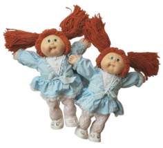 VINTAGE 1985 CABBAGE PATCH KIDS RED HAIR TWINS GREEN EYES GIRLS PLUSH DO... - $158.02