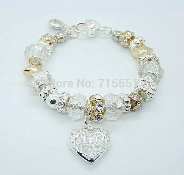 Primary image for Heart Charm Heavy Jeweled Bracelet Sterling Silver NEW