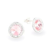 Swarovski Light Pink Crystal Earrings Handmade Round 925 Sterling Silver... - €43,30 EUR