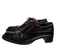 Vintage PRADA Lace Up Oxfords Aubergine Cordovan Chunky Heel Size 39 EU ... - $128.79