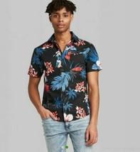 Men's Floral Print Short Sleeve Button-Down Shirt -Original Use Black Various Sz