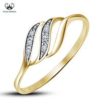 Yellow Gold Finish 925 Silver Round Cut White Diamond Engagement Wedding... - £74.19 GBP