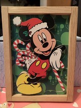 Disney 3D Santa Mickey Mouse w Candy Canes in Wood Frame Cut Out Unique Rare New - $24.99