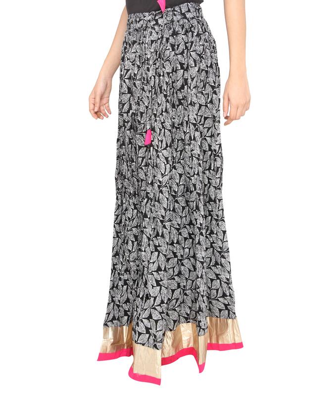 Pink border leaves jaipuri skirt  b