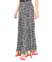 Pink Border Leaves Jaipuri Skirt  - $25.75