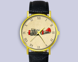 Vintage Drawing Airplaine Leather Watch Ladies Mens Unisex Gift Idea Acc... - $12.50