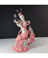 GEISHA PORCELAIN STATUE Asian sculpture figurine antique Japan pink dres... - $247.50
