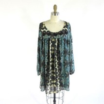 S - FREE PEOPLE Blue Green Patterned Silky Shift Mini Dress Tunic 0000MB - $30.00
