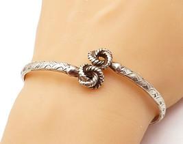 925 Sterling Silver - Vintage Knot Twist End Detail Etched Cuff Bracelet... - $65.92