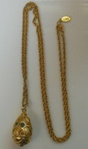 Vintage Signed Joan Rivers Multi-Color Rhinestone Egg pendant Necklace W/Pearl - $54.45