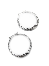 """GORGEOUS Classic Graduated Silver Cable Rope 1.25"""" Diameter Hoop Earrings - $12.99"""