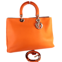 Christian Dior Orange Calfskin Leather Diorissimo Large Tote Bag - $1,199.00