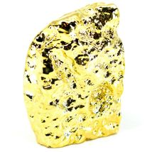 """Grey Brown Dyed Polished Agate Stone Gilded Gold 2.75"""" Paperweight Display Rock image 3"""