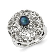925 Sterling Silver Rhodium-plated Textured Black Pearl & CZ Round Ring ... - $74.91