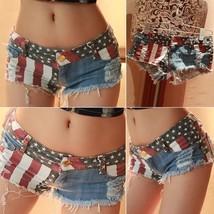 Fashion Hot Women's Short Jeans Womens Denim Shorts Women American Flag Shorts J