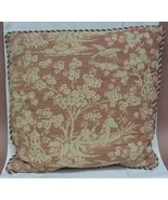 Custom Made Throw Pillow Red Brocade 19in x 18in  * Fabric - $23.72