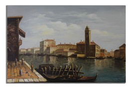 Ansavv Medieval Venice Multicolor Oil On Canvas Painting - $217.00