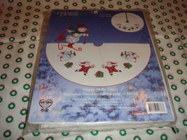 Cross Stitch Happy Holiday Snowman Tree Skirt-Tabletopper Kit  - $31.99