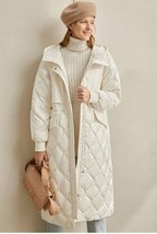 Women's European Brand Designer Thick Hooded Solid Quilted Down Winter Coat image 2