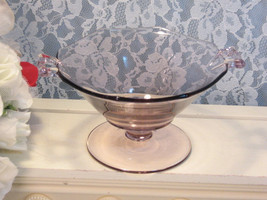 Vintage Antique Fostoria Glass Fairfax Orchid Wisteria Handled Candy Dish, 1930s - $74.99