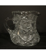 EARLY MCKEE NORTEC PATTERN 'PRES-CUT' MOLD BLOWN WATER PITCHER EAPG - $40.00