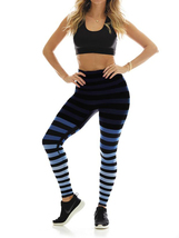 K-Deer Women's Blue/Black/Grey Emme Stripe Sneaker Length Leggings, XS-4X image 2