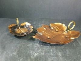 "Lot Of 2 Copper Autumn Leaves Table Decor Accents Diameter: 6"" - 8""  - $24.74"
