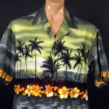 Winnie Fashion Hawaiian Aloha Shirt Mens XL Beach Sunset Outrigger Palm ... - $23.36
