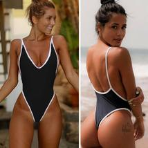 Women 's Sexy Deep V Neck One Piece Backless Thong Swimsuit image 4
