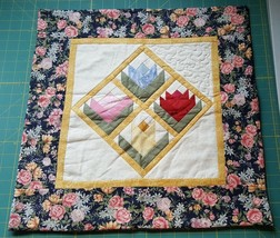 "Hand Made Quilt Wall Hanging Pieced Tulip Pink Blue Yellow 18 1/2"" x 18 ... - $18.00"