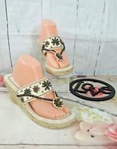 Montego Bay Club Wedge Espadrile Beige Embellished Slip On Thong Sandals... - $7.69