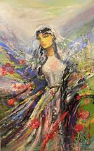 Wings. A large oil painting. Green, white, scarlet - $277.00