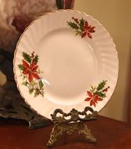ROYAL ADDERLEY LUNCH DESSERT PLATE POINTSETTIA CHRISTMAS PORCELAIN ENGLA... - $29.99