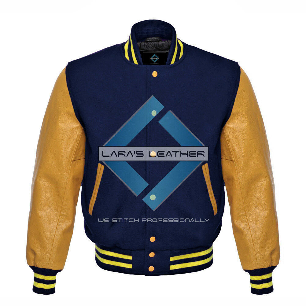Primary image for Top College Baseball Varsity Navy Wool Jacket & Gold Real Leather Sleeve XS-4XL