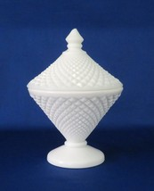 Westmoreland Glass Footed Covered Candy, English Hobnail, Cone Shaped - $9.00
