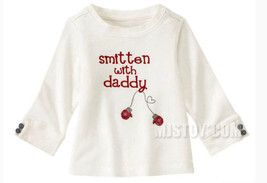 NWT GYMBOREE Cute White Smitten With Daddy Long Sleeve Winter Tee T-Shirt - $15.49