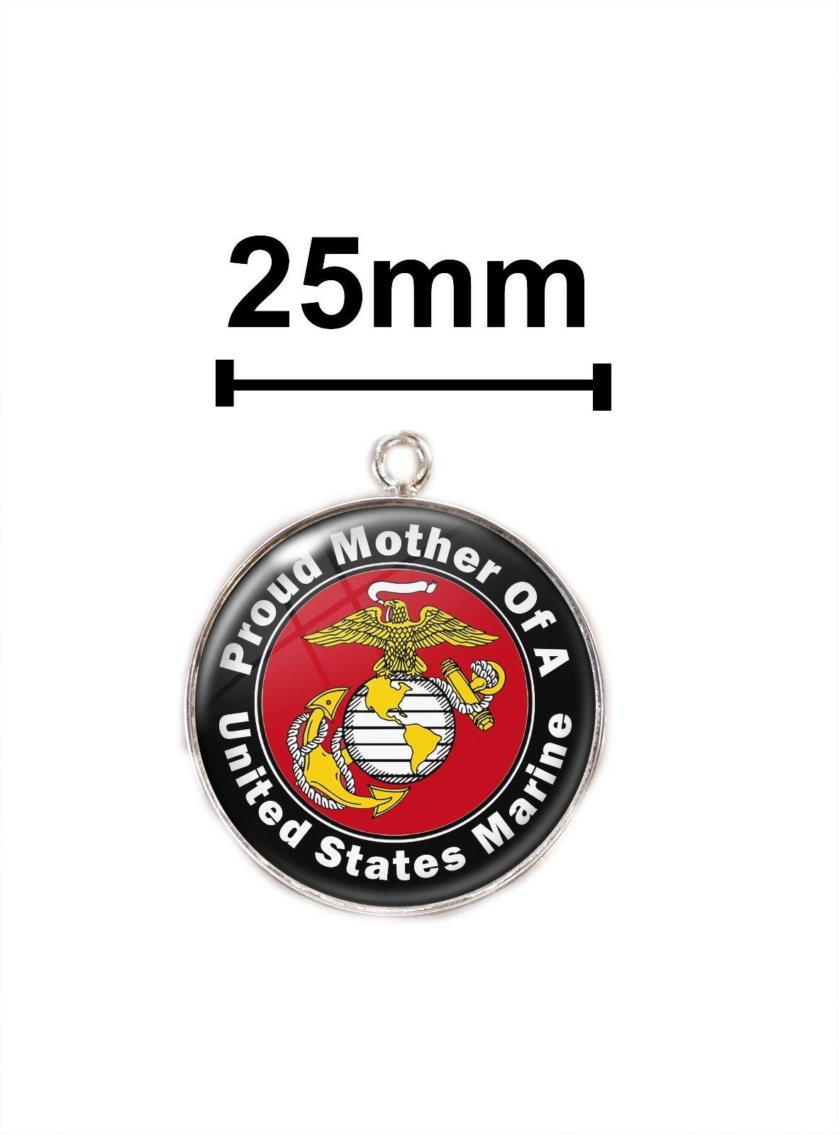 USMC Proud Mom Sterling Silver Pendant