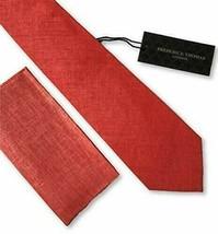 FrederickThomas matching coral red linen mens pocket square necktie handkerchief