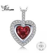 925 Sterling Silver 2.82ct Ruby Heart Pendant Necklace Jewelry Palace [P... - $23.76