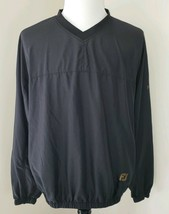 Footjoy Men's XL V-Neck Solid Black Windbreaker Long Sleeve Pullover Jac... - $24.93