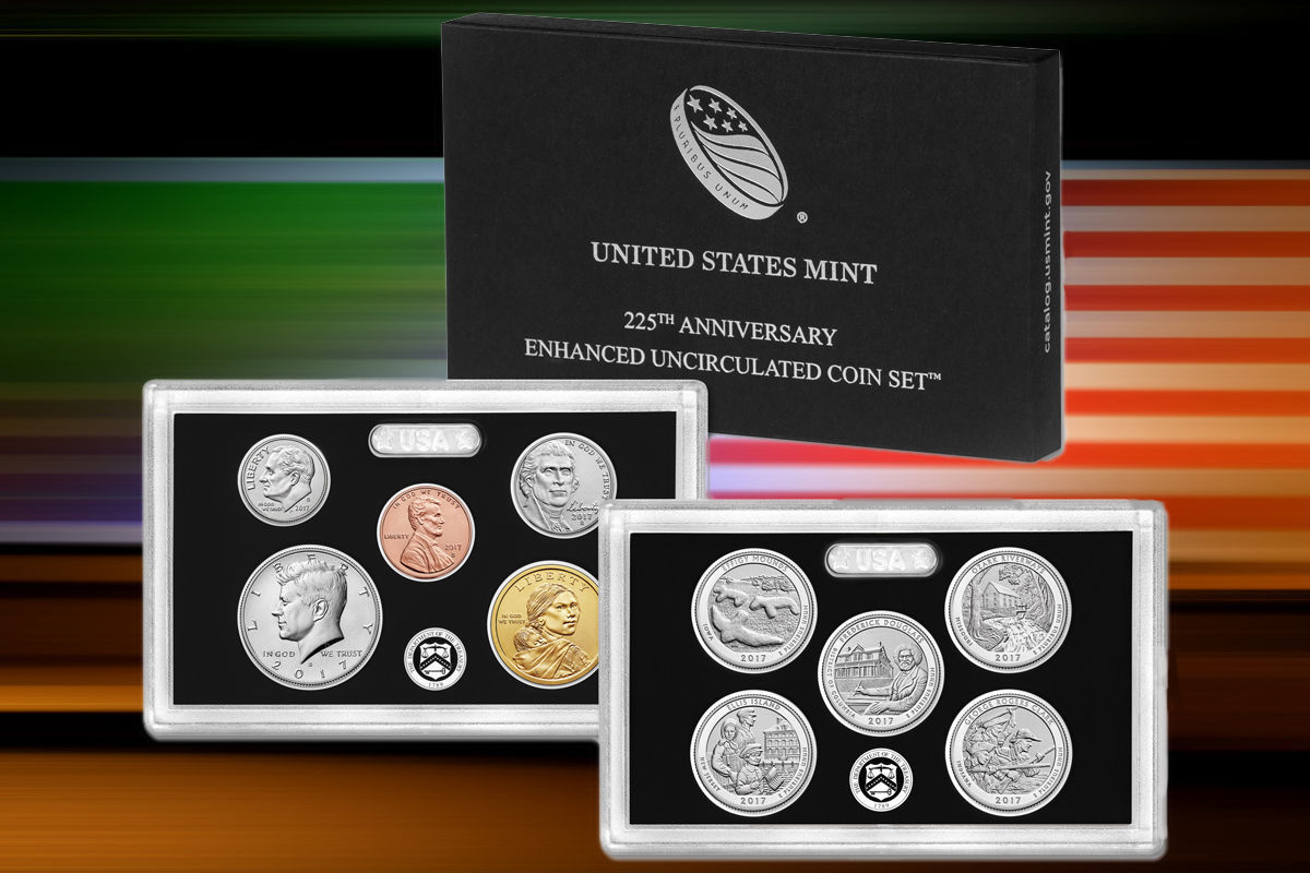 Lot of 4 2017 US Mint 225th Anniversary Enhanced Uncirculated Coin Sets Box/COA