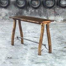 "60"" SOLID NATURAL WOOD SOFA CONSOLE TABLE VINTAGE FARMHOUSE AGED STEEL F... - €648,14 EUR"