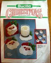 Bucilla Christmas 5 Piece Set Santa Coasters Pre-Cut Plastic Canvas Kit ... - $14.95