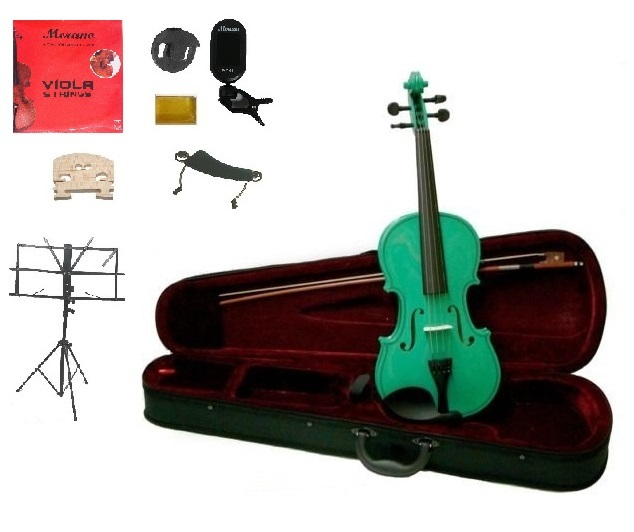 "Merano Acoustic 14"" GREEN Student Viola,Case,Bow & Much More"