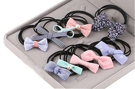 10Pcs Lovely Bowknot Girls Ponytail Holder Women Elastic Hair Ties, Mixed Color